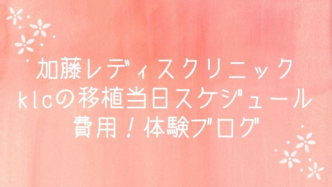 加藤レディスクリニック・klcの移植当日スケジュール・費用!体験ブログ